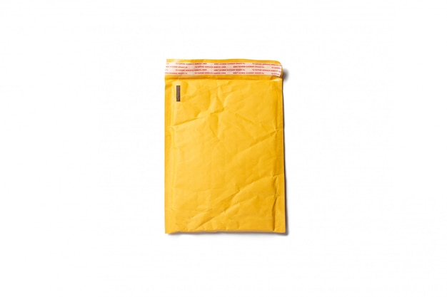 Mailing paper bag for letters or small parcels on a light space