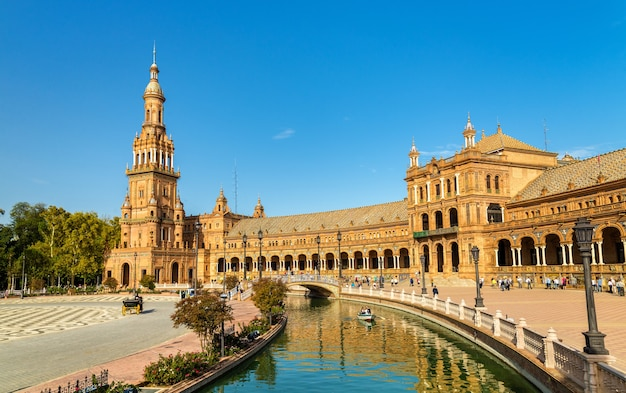 Main building of plaza de españa, an architecture complex in seville - spain, andalusia