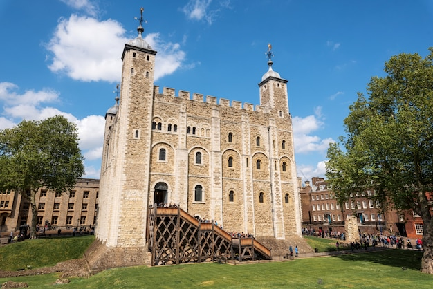 Main castle within the tower of london and the outer walls in london