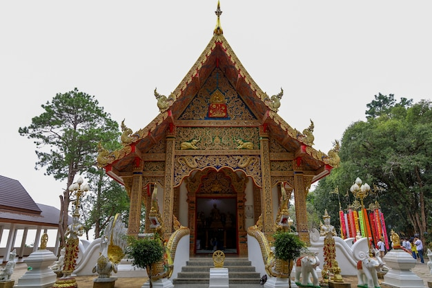 The main chuch in wat phra that doi-tung is famous in chiang rai, thailand
