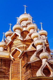 The main ensemble of the kizhi open air museum. monuments of wooden architecture: churches and a bell tower. kizhi island, karelia, russia. details.