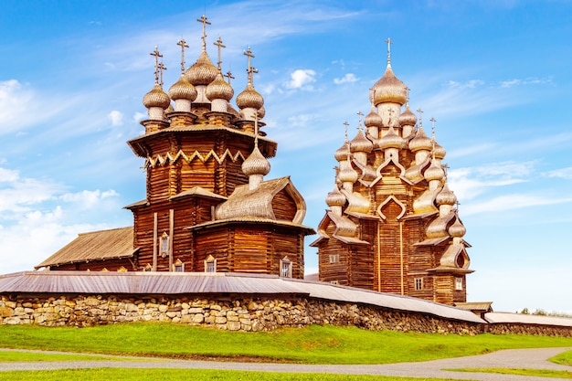 The main ensemble of the kizhi open air museum. monuments of wooden architecture: churches and a bell tower. kizhi island, karelia, russia.