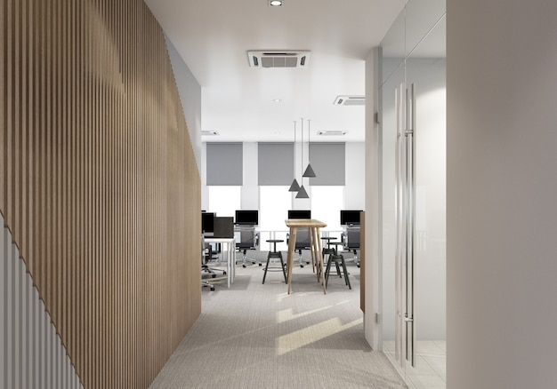 Main entrance in modern office with carpet floor and working area interior 3d rendering