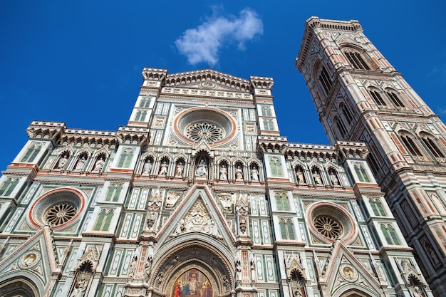 Main facade of cathedral of saint mary of the flower, duomo. italy, tuscany, florence.