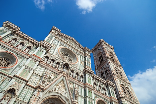 Main facade of florence cathedral and bell tower. italian gothic architecture