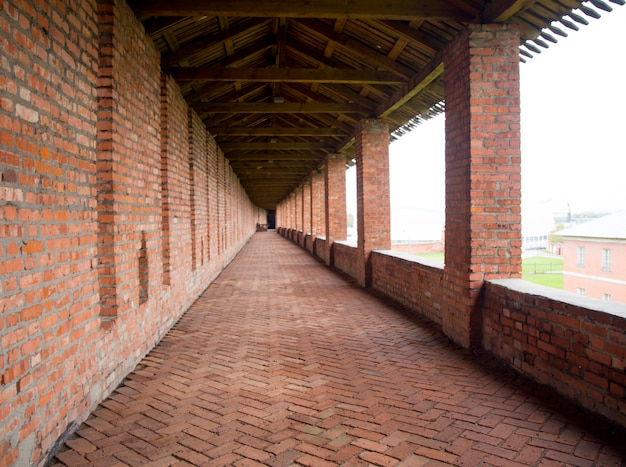 The main gallery of the defensive walls of the kolomna kremlin