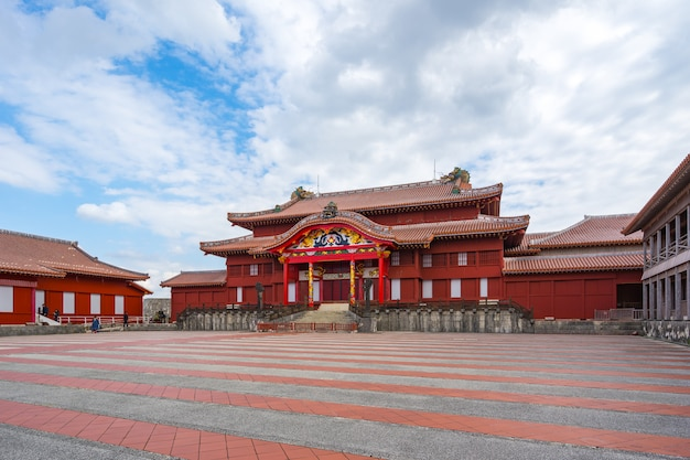 Main hall of shuri castle in okinawa, japan