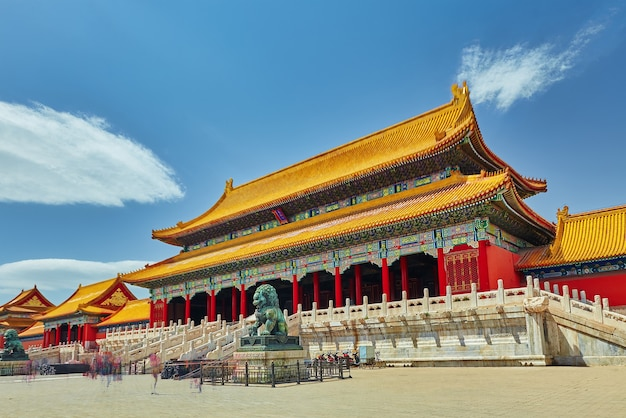 The main of the imperial palace  inside the territory of the forbidden city museum in beijing in the heart of city, china