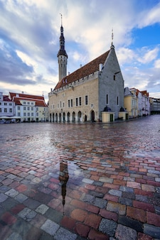 中世の建物と雨からの地面の反射があるメイン広場。タリンエストニア。