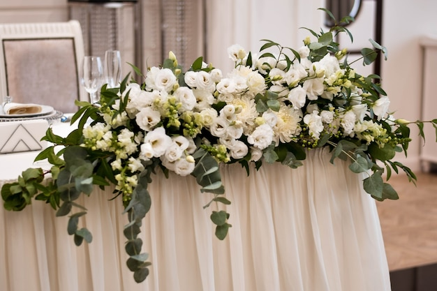 Main table at a wedding reception with beautiful fresh flowers