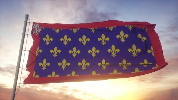 メイン州の旗、フランス、風、空、太陽の背景に手を振っています。 3dレンダリング