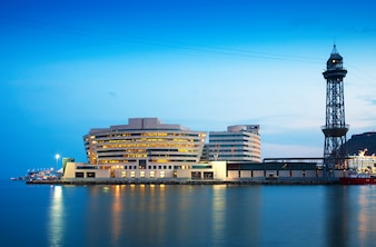 Maing building of Port Vell in evening
