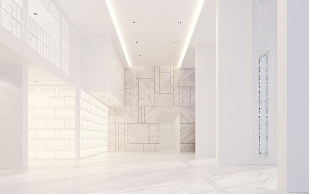 Mainhall двойного пространства интерьера в китайско-португальском стиле с мраморным полом 3d-рендеринга