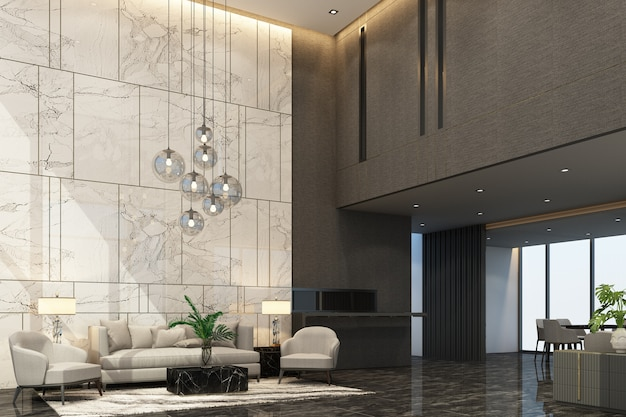 Mainhall reception waiting area in condominium or hotel with luxury furniture and marble texture in grey tone color 3d rendering