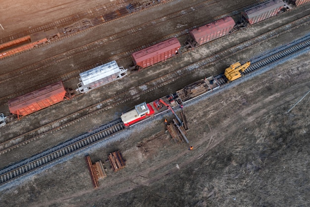 Maintenance and repair of the railroad view from above with drone
