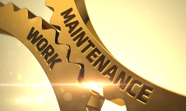 Maintenance work - concept. maintenance work - illustration with glow effect and lens flare. maintenance work on the mechanism of golden cogwheels with glow effect. 3d.