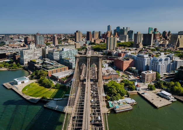 The majestic brooklyn bridge in new york brooklyn downtown skyline side view usa