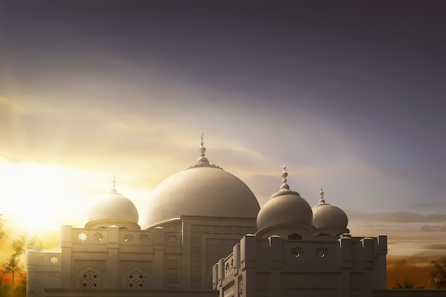 Majestic mosque with dome in the middle
