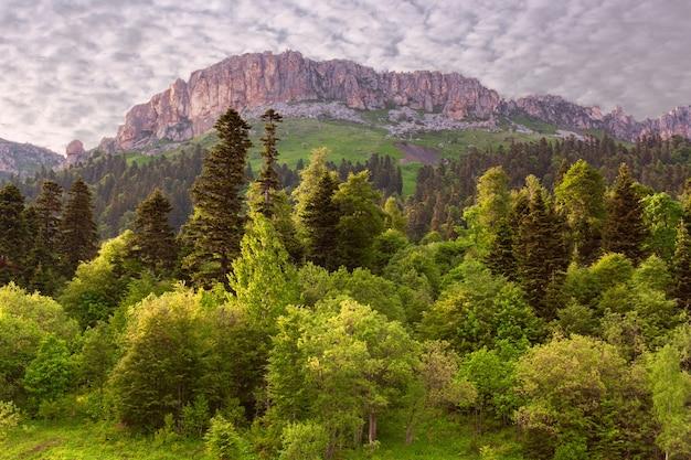 雄大な岩、混交林、昇る太陽の光の中の雲