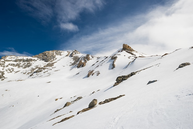 Majestic snowcapped mountain peaks in winter in the alps