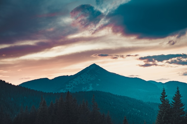 Majestic sunrise in montains