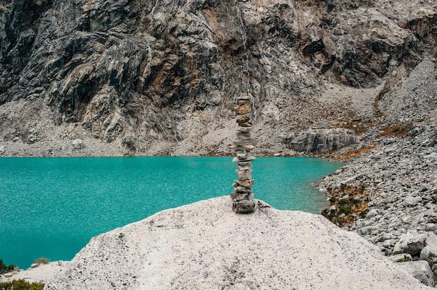 Majestic view of laguna 69 in huaraz peru.