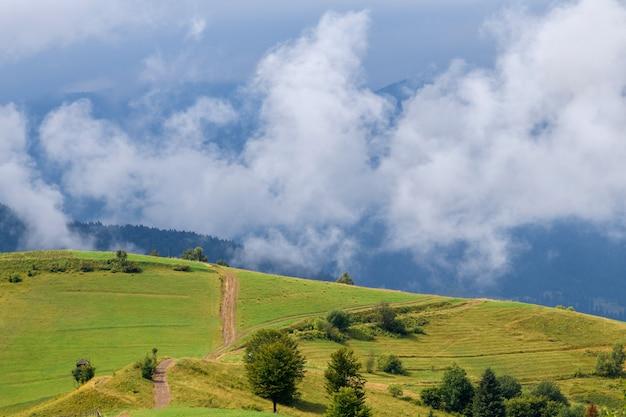 Величественный вид на красивые горы тумана и облаков в пейзаже тумана. летнее время после дождя