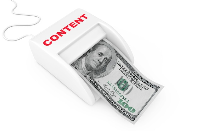 クリエイティブコンテンツのコンセプトでお金を稼ぎます。白地にドル紙幣を備えたマネーメーカーコンテンツマシン。 3dレンダリング