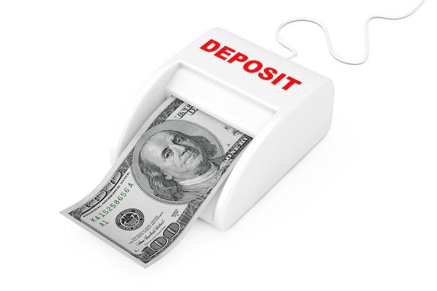 預金の概念でお金を稼ぐ。白地にドル紙幣を備えたマネーメーカー預金機。 3dレンダリング