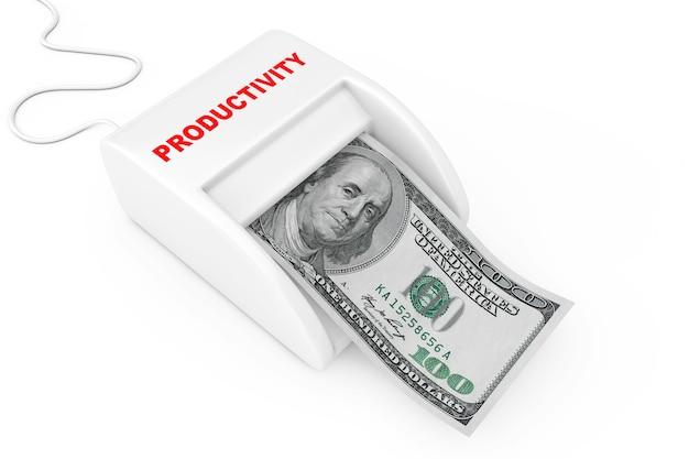 生産性の概念でお金を稼ぐ。白地にドル紙幣を備えたマネーメーカー生産性マシン。 3dレンダリング