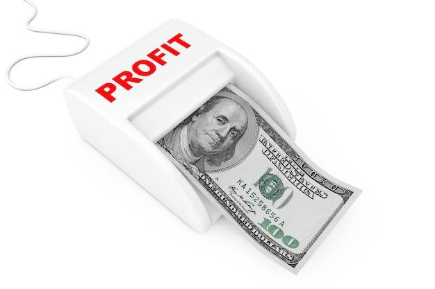利益の概念でお金を稼ぐ。白い背景の上のドル紙幣とマネーメーカー利益マシン。 3dレンダリング