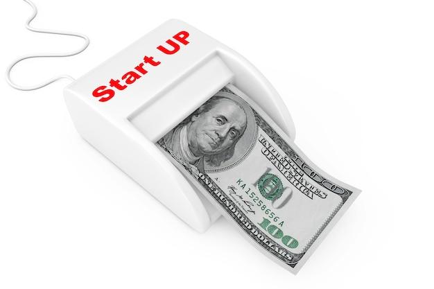 Зарабатывайте деньги с концепцией запуска. денежный производитель запускает машину с долларовой банкнотой на белом фоне. 3d рендеринг