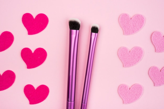 Make up brushes set with hearts