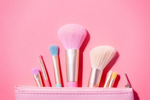 Make up brushes top view