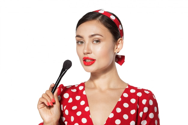 Make up. close up portrait headshot of pinup retro style young woman