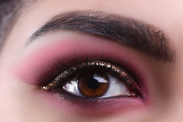 Make-up eye of young attractive woman beauty portrait