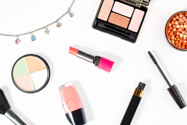 Make up products collection on white background