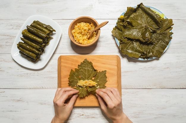 Make vegetarian dolma. balkan and caucasian cuisine. dolma.