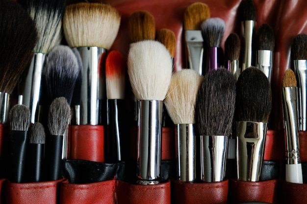 Makeup artist brush set for professional makeup in case in beauty salon.  cosmetics, caring for each other.