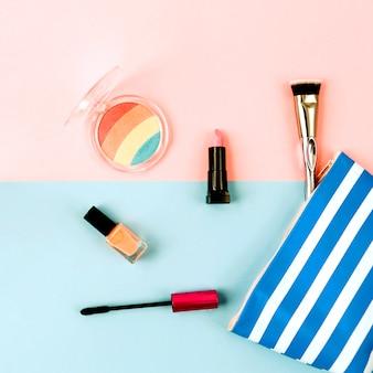 Makeup bag with cosmetics