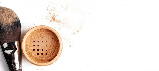 고립 된 얼굴에 대 한 항아리 느슨한 화장품 파우더 메이크업 브러쉬
