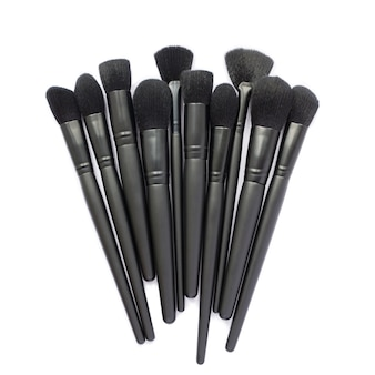 Makeup brushes collection isolated on white