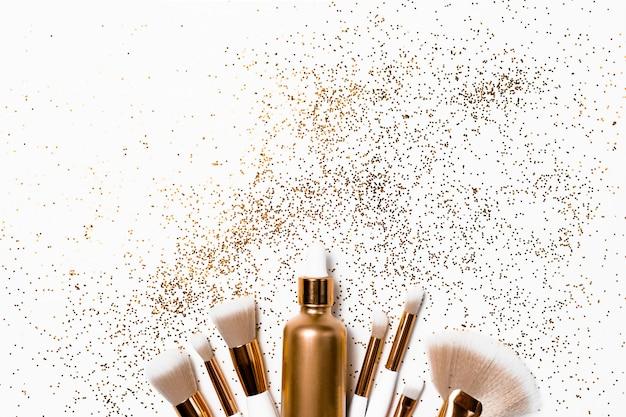 Makeup brushes, hyaluronic acid  confetti.