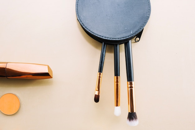 Makeup brushes in purse