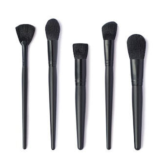 Makeup brushes set isolated on white space