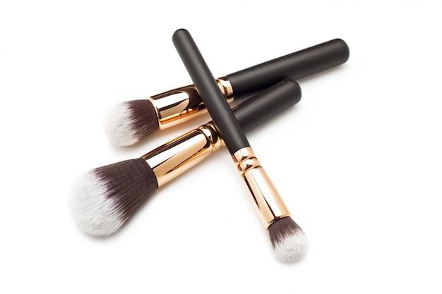 Makeup brushes on white