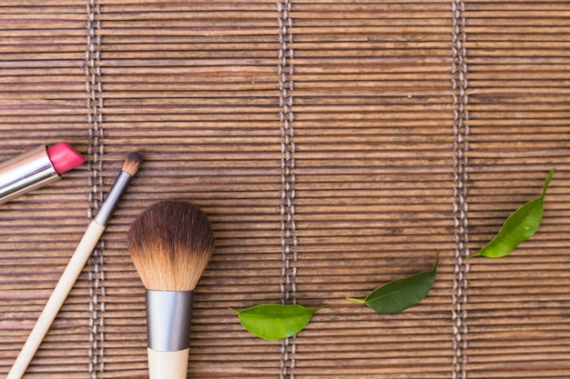 Makeup brushes with lipstick and green leaves on placemat
