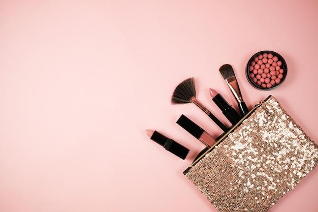 Makeup cosmetic flay lay pink cloral