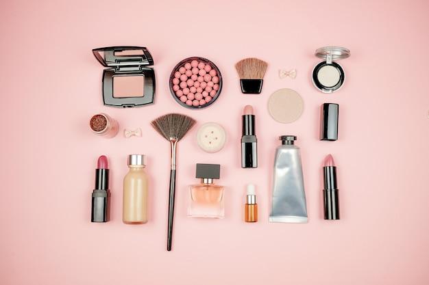 Makeup cosmetic flay lay
