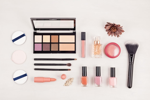 Of makeup cosmetic products, flat lay, top view.